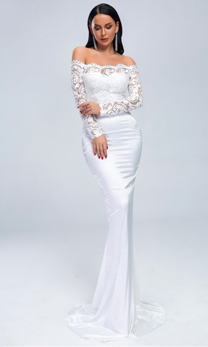 Slow Dancing White Lace Long Sleeve Off The Shoulder Fit and Flare Maxi Dress