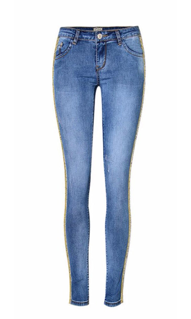 Standing My Ground Blue Denim 5 Pocket Low Rise Glitter Side Stripe Skinny Stretch Jean Pant