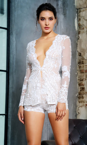 I'm The One White Sheer Lace Bell Sleeve Plunge V Neck Ruffle Long Casual Maxi Romper Playsuit