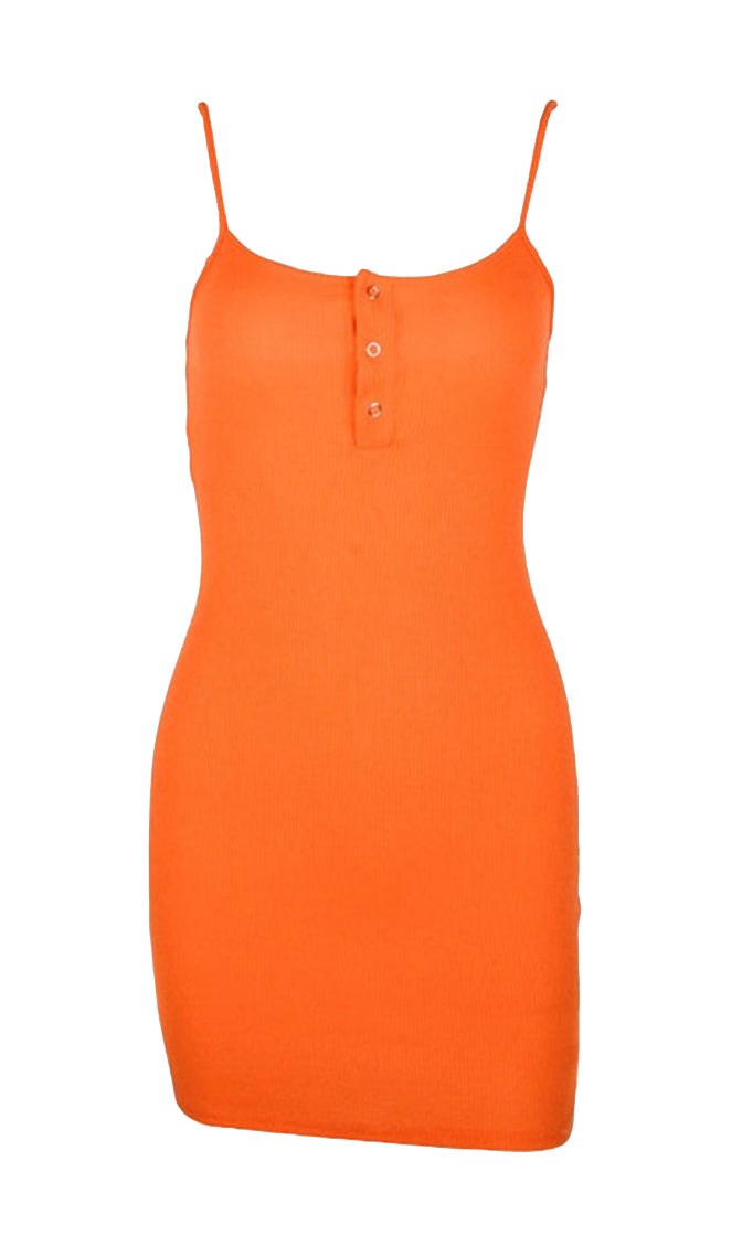 We Belong Together Orange Sleeveless Spaghetti Strap Scoop Neck Button Bodycon Casual Mini Dress