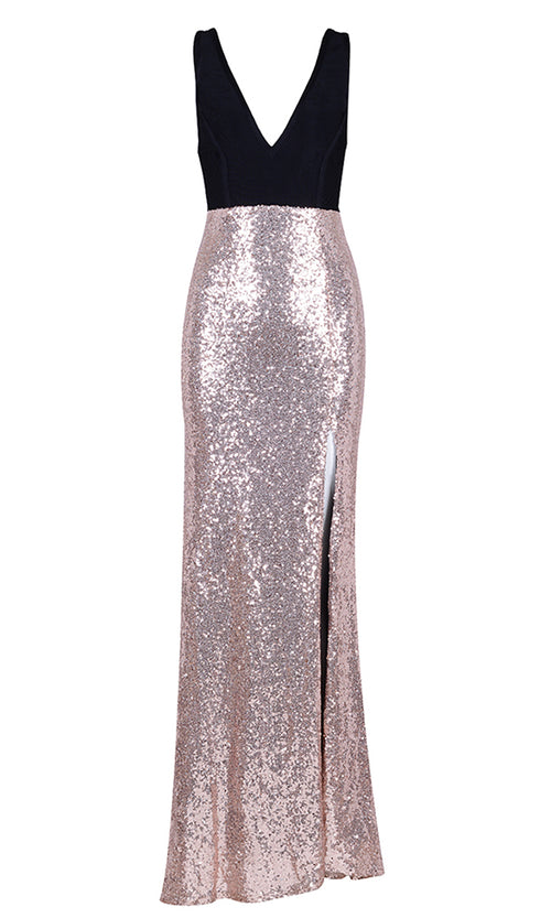 Wishing For Romance Black Apricot Sequin Sleeveless V Neck Side Slit Maxi Dress Gown