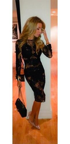 Natalia Black Sheer Lace Long Sleeve Scoop Neck Bodycon Midi Dress !!- Sold Out