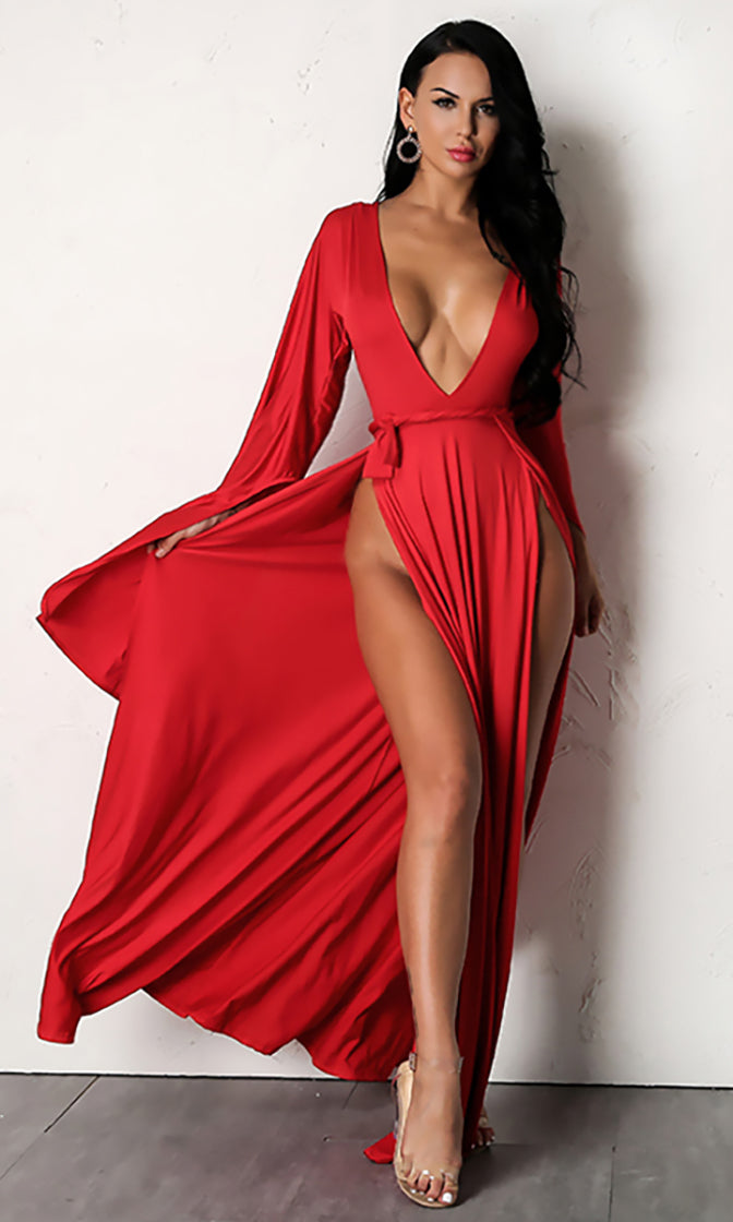 Wasted Love Extra Long Sleeve Plunge V Neck Tie Waist Double Slit Casual Maxi Dress
