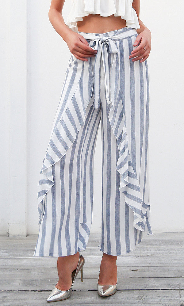 Up For A Change Vertical Stripe Pattern High Waist Side Split Ruffle Loose Wide Leg Pants - 2 Colors Available