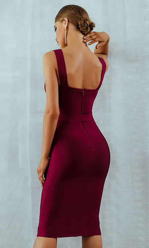 Charity Event Sleeveless Scoop Neck Belted Bodycon Bandage Midi Dress - 3 Colors Available