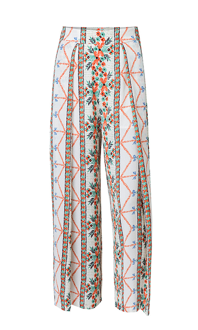 Crystal Cove White Geometric Floral Pattern High Waist Wide Leg Loose Pants