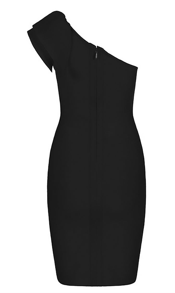 No Time For You Sleeveless One Shoulder Ruffle Bodycon Bandage Midi Dress - 2 Colors Available