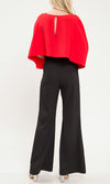 Filthy Rich Red Black Long Tie Sleeve Scoop Neck Cape Top Wide Leg Loose Bell Bottom Flare Jumpsuit - Sold Out