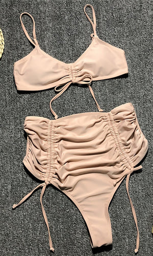 Surfin' Safari Spaghetti Strap Ruched Drawstring V Neck High Waist Brazilian Thong Two Piece Bikini Swimsuit - 4 Colors Available