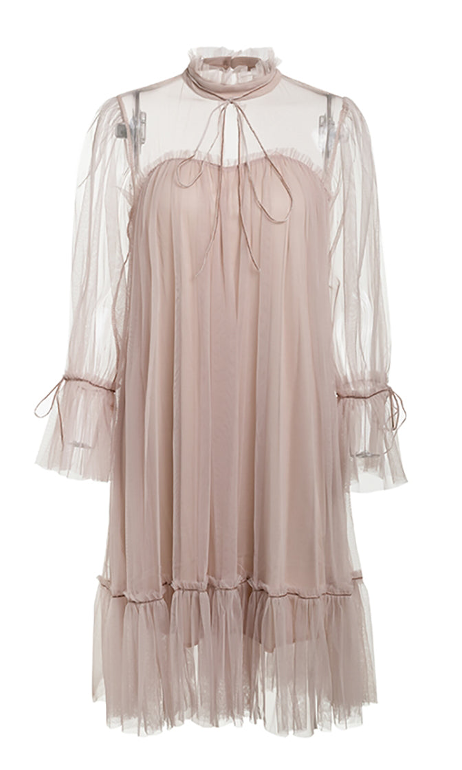 Eastside Princess Sheer Mesh Pleated Long Sleeve Ruffle Mock Neck Casual Mini Dress - 4 Colors Available - Sold Out