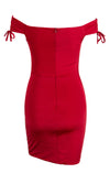 Body Movin' Red Wine Burgundy Short Sleeve Ruched Off The Shoulder V Neck Drawstring Bodycon Mini Dress