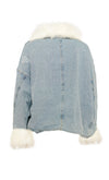 Ski Bunny Blue Denim White Faux Fur Long Sleeve Zipper Drawstring Flap Pocket Outerwear Jacket Coat