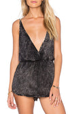 Talk A Good Game Black Dark Grey Sleeveless Cross Wrap V Neck Elastic Waist Romper Playsuit - Sold out