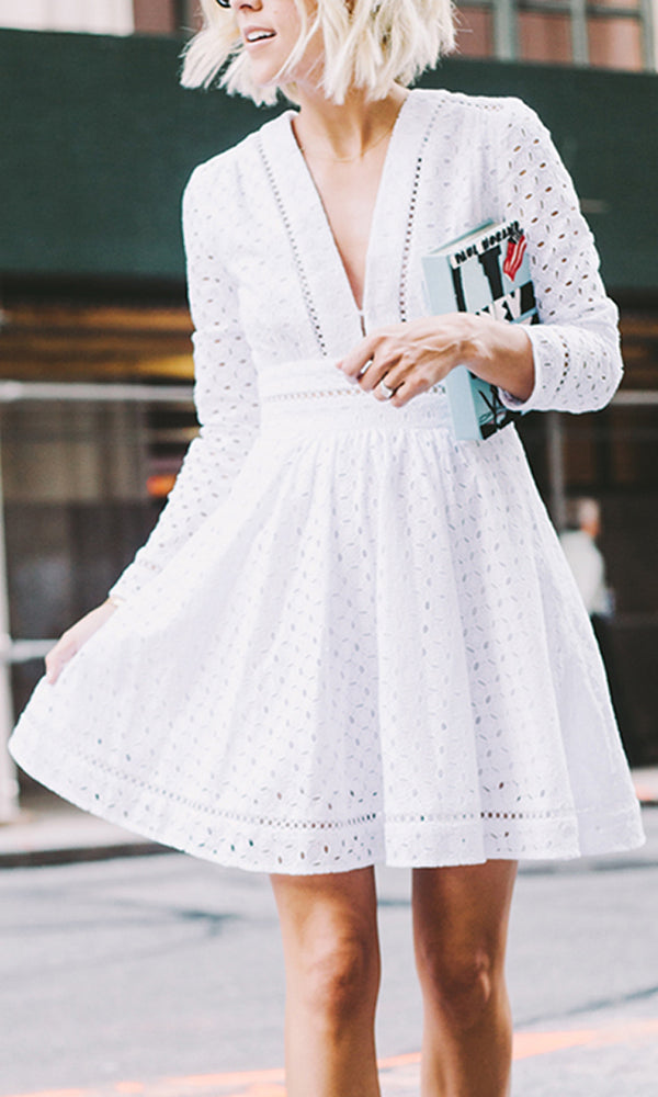 Delicate Beauty White Long Sleeve Hollow Eyelet Lace Plunge V Neck A Line Mini Dress