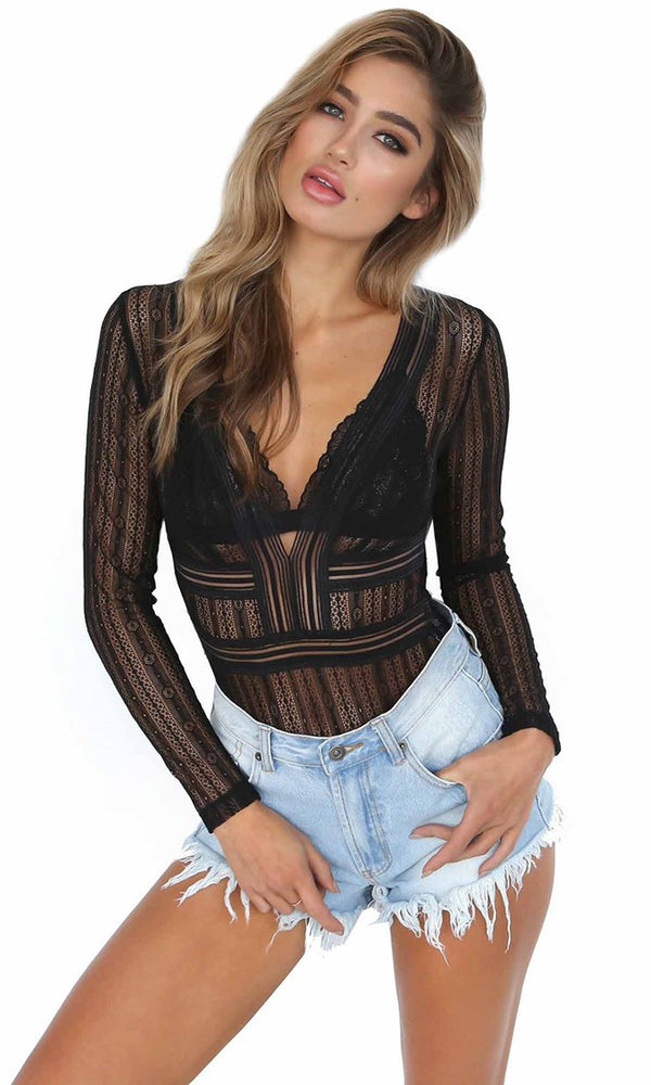 Whispers And Lies Black Sheer Mesh Lace Long Sleeve V Neck Cut Out Back Bodysuit Top