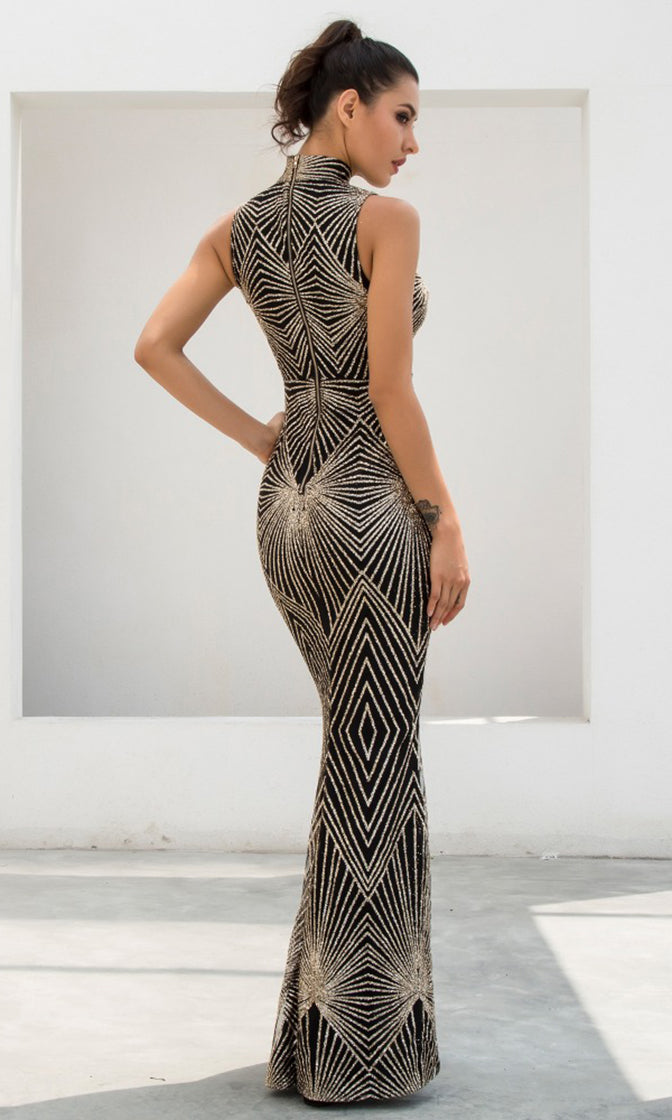 Geo Glamour Black Gold Sequin Geometric Pattern Sleeveless Mock Neck Plunge V Neck Fishtail Mermaid Maxi Dress