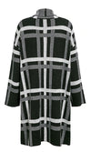 Wishing For Snow Black White Plaid Pattern Long Sleeve Lapel Open Front Long Knit Cardigan