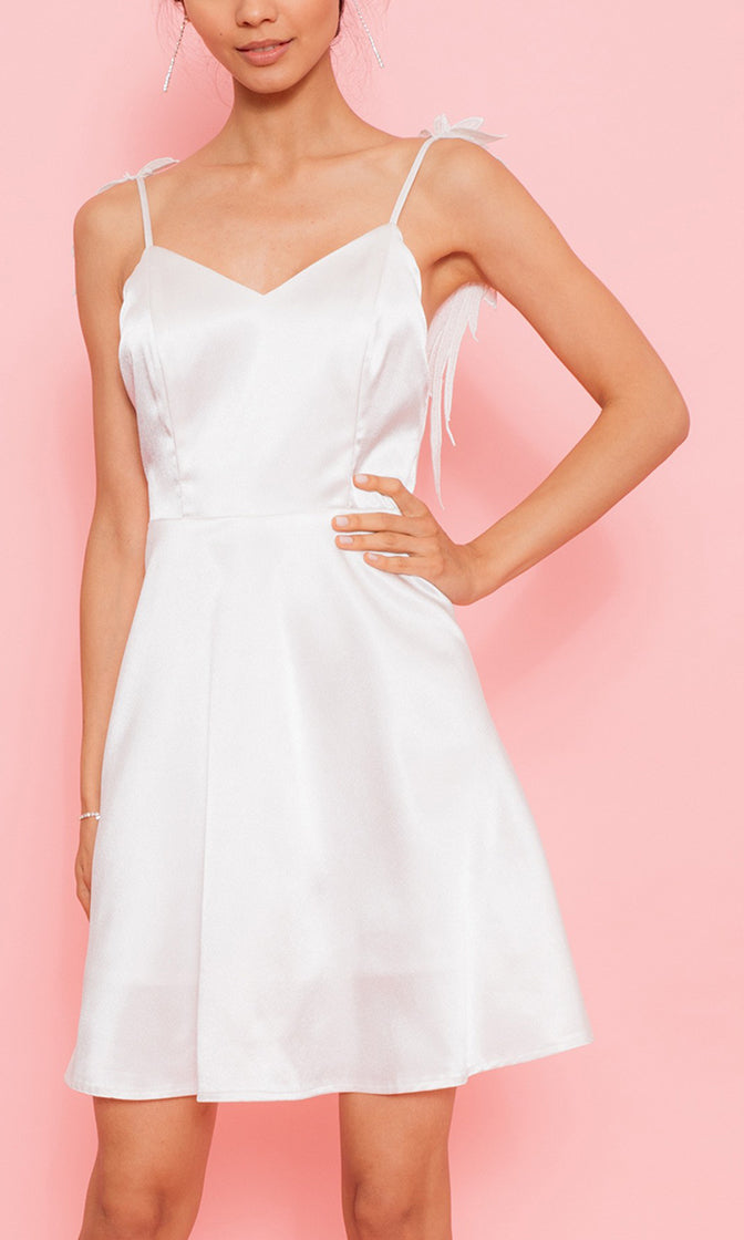 I'm Your Juliette White Sleeveless Spaghetti Strap V Neck Angel Wing A Line Mini Dress - Sold Out