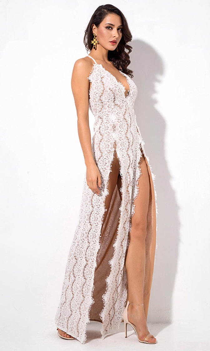 You Only Wish White Lace Sleeveless Spaghetti Strap Plunge V Neck Double Slit Maxi Dress