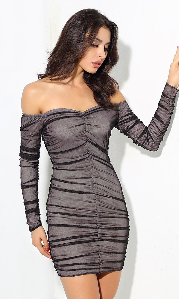 Don't Mess With Me Black Sheer Mesh Long Sleeve Off The Shoulder Pleated Bodycon Casual Mini Dress