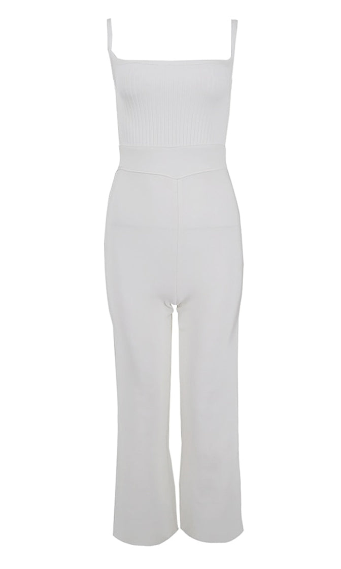 Serious Commitment White Sleeveless Spaghetti Strap Square Neck Backless Lace Up Flare Leg Bodycon Bandage Jumpsuit