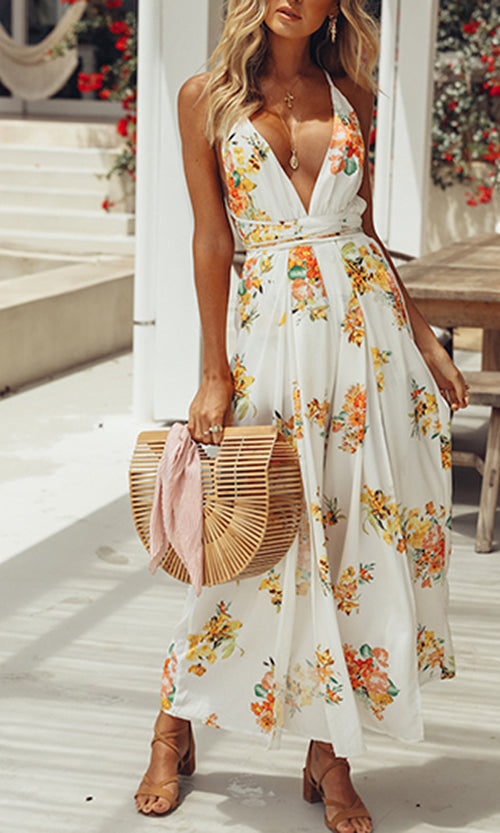 Ocean Avenue White Floral Pattern Sleeveless Spaghetti Strap Backless Plunge V Neck Wide Leg Jumpsuit