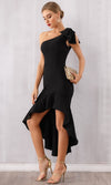 Real Romance Black Sleeveless One Shoulder Ruffle Bodycon Bandage Asymmetric High Low Maxi Dress - Sold Out