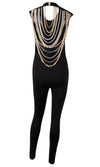 Hello Lover Black Sleeveless Scoop Neck Backless Draped Metal Chains Skinny Bodycon Jumpsuit