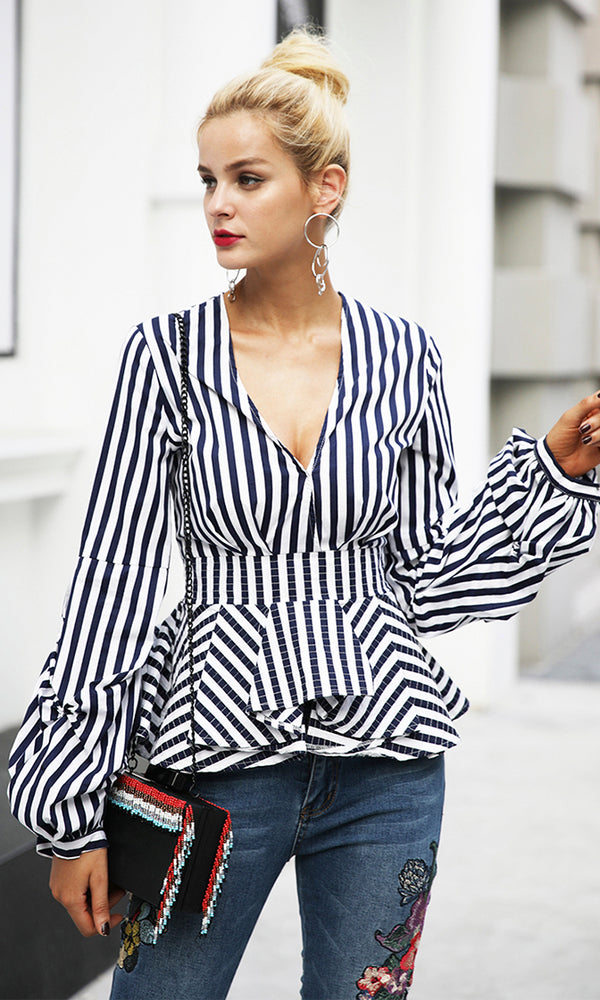 82ac7fadedc4 Busy Signals Gathered Long Sleeves Plunge V Neck Pleated Peplum Ruffle  Blouse Top - 3 Colors