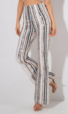 Going Long Grey Sequin Vertical Stripe Pattern High Waist Loose Flare Leg Pants