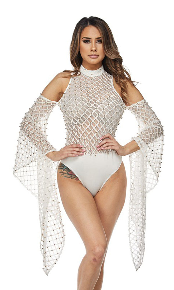 Fearless Frenzy Sheer Mesh Lace Pearl Trim Long Bell Sleeve Cold Shoulder Mock Neck Bodysuit Top - 2 Colors Available