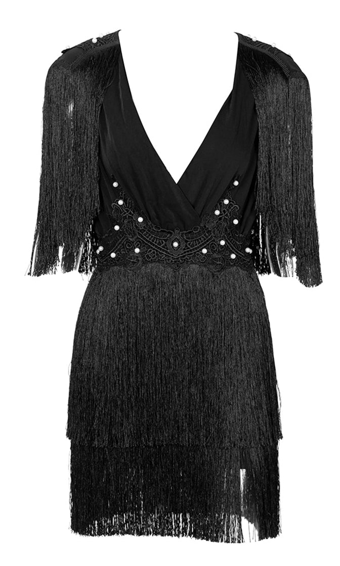 c6fa550e8a5 Know Your Worth Black Fringe Tassel Pearl Bead Short Sleeve V Neck Keyhole  Back Mini Dress