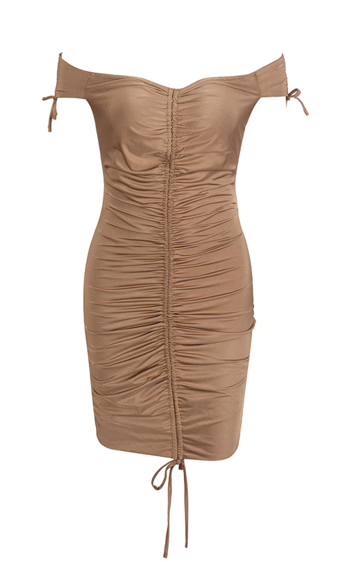 Body Movin' Nude Short Sleeve Ruched Off The Shoulder V Neck Drawstring Bodycon Mini Dress