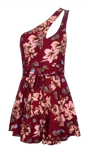 Just Right Burgundy Wine Beige Blue Brown Floral Cut Out One Shoulder Tie Waist Romper Playsuit - Last One!