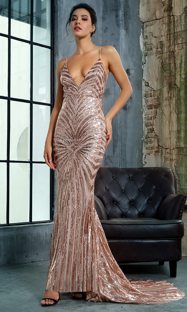 Feel The Spark Gold Sequin Geometric Pattern Sleeveless Spaghetti Strap Plunge V Neck Backless Mermaid Maxi Dress