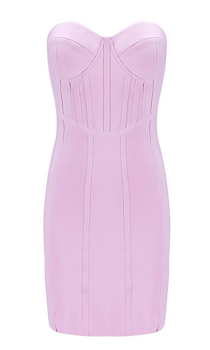 Love Happens Pink Strapless Bustier Bodycon Bandage Midi Dress