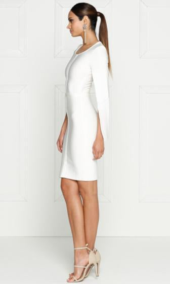 Midnight Scandal White Long Slit Sleeve Scoop Neck Bandage Bodycon Cape Midi Dress - Sold Out