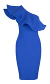 Hot As Hell Sleeveless One Shoulder Ruffle Bandage Bodycon Midi Dress - 3 Colors Available