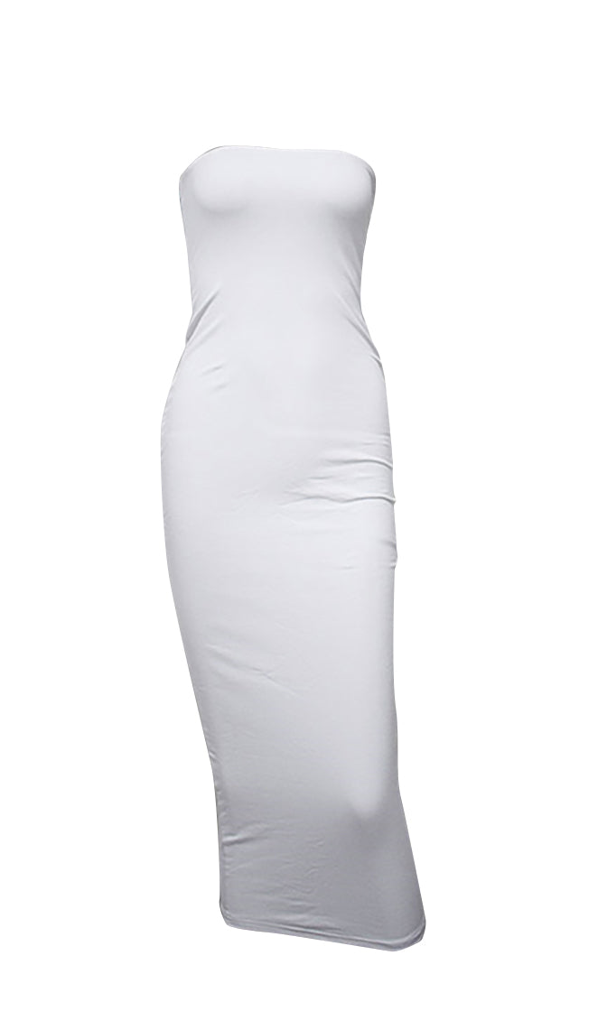Stepping Out Of Line White Strapless Bodycon Midi Dress - 5 Colors Available