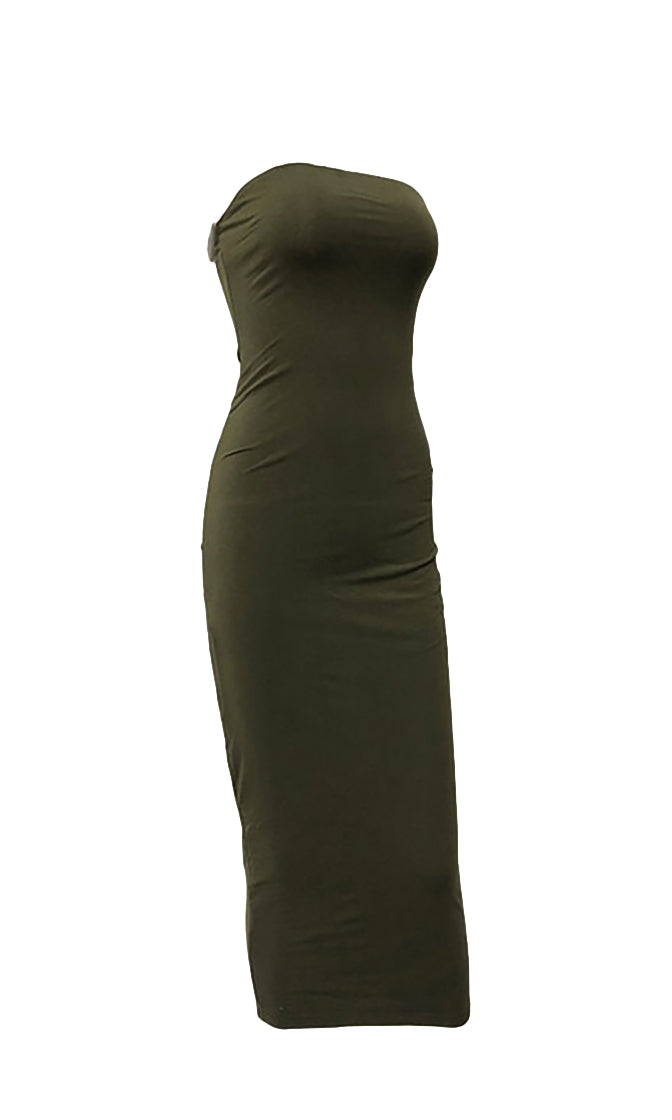 Stepping Out Of Line Black Strapless Bodycon Midi Dress - 5 Colors Available