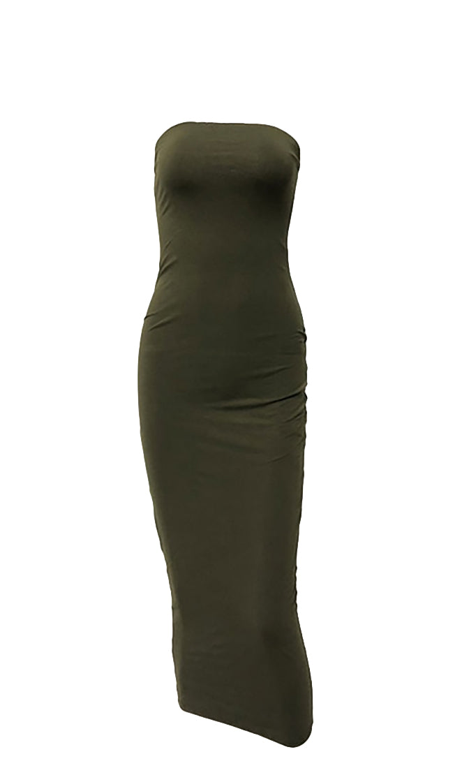 Stepping Out Of Line Army Green Strapless Bodycon Midi Dress - 5 Colors Available