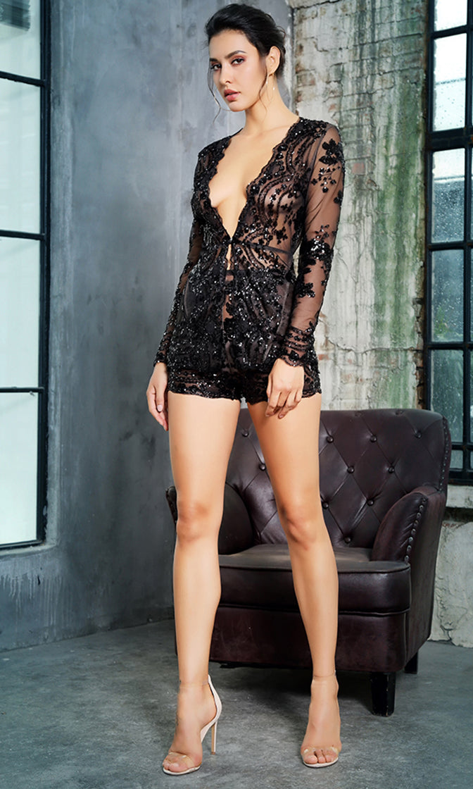 You'll See Me Black Sheer Mesh Sequin Flower Pattern Long Sleeve Plunge V Neck Two Piece Short Romper Set