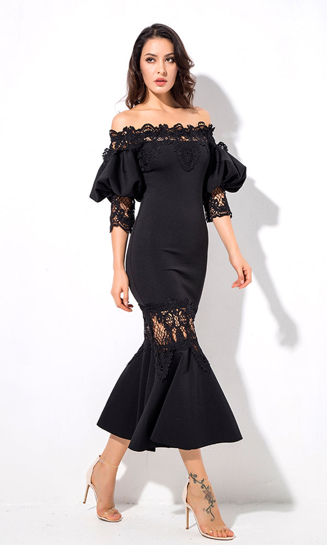 Get You Back Black 3/4 Lantern Sleeve Lace Trim Off The Shoulder Fishtail Bodycon Midi Dress