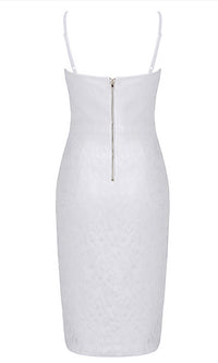 Elevated Desire White Lace Sleeveless Spaghetti Strap Bustier Bodycon Bandage Midi Dress - Sold Out
