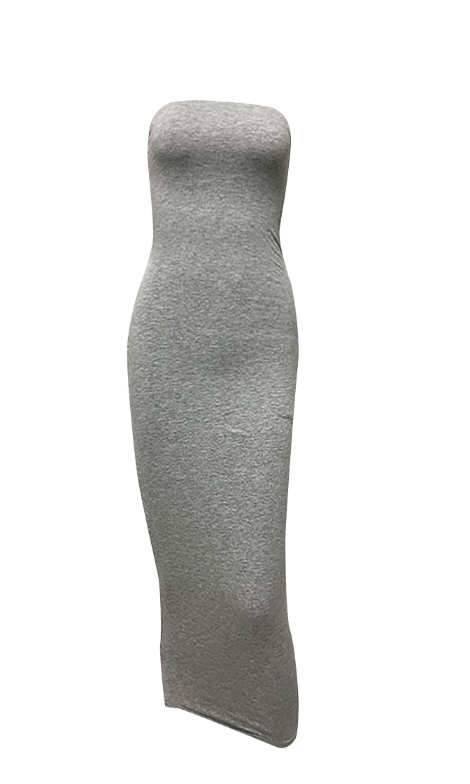 Stepping Out Of Line Gray Strapless Bodycon Midi Dress - 5 Colors Available