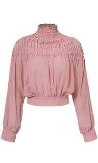 East Side Girl Pleated Smocked Long Lantern Sleeve Mock Neck Tie Back Chiffon Blouse Top - Sold Out