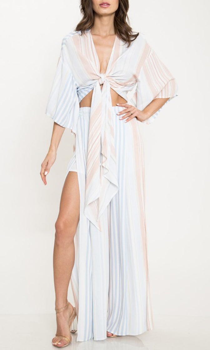 cab3f14fcb6e Brentwood Bombshell Light Blue Vertical Stripe Pattern Kimono Sleeve Wrap  Crop Top Wide Leg Two Piece