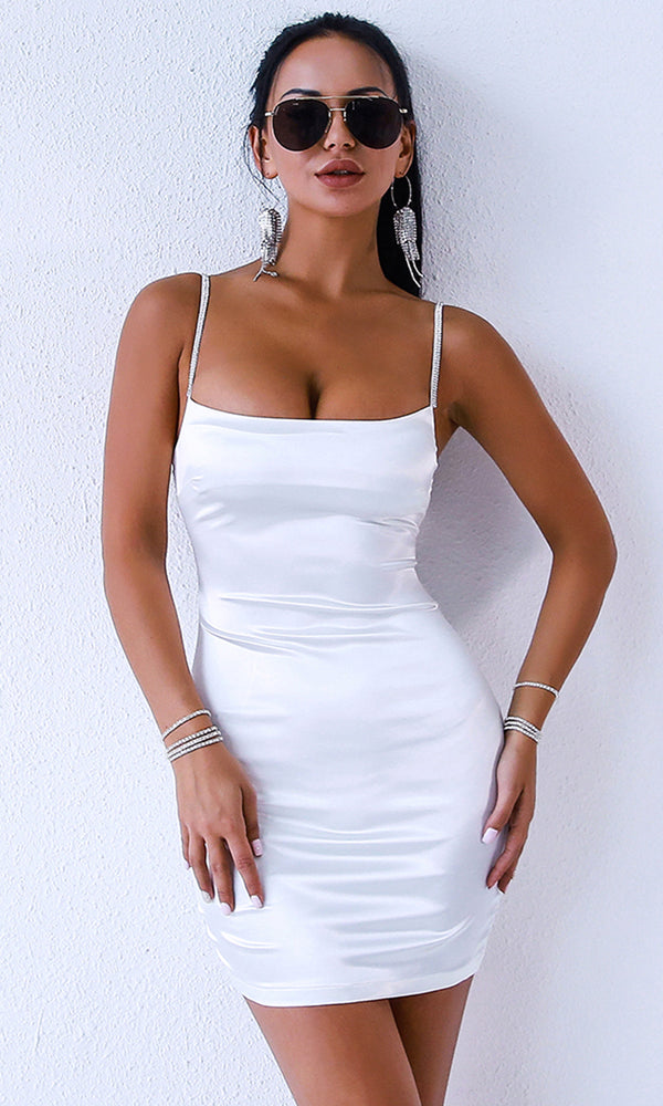 Cheat Sheet White Sleeveless Spaghetti Strap Satin Bodycon Mini Dress