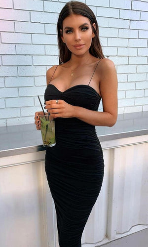 Bring It Back Black Sleeveless Spaghetti Strap Sweetheart Neck Ruched Bodycon Maxi Dress