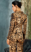 Cat Lady Leopard Pattern Long Sleeve Button Blazer Jacket Straight Leg Pant Two Piece Jumpsuit Outerwear - Sold Out